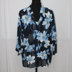 Emma James Blue 2PC Sheer Blouse & Cami